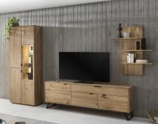 Obývací a jídelní nábytek LISBOA_dubový masiv_obývací sestava 40 52 42_volitelné LED osvětlení a granitová záda u vitriny_obr. 6