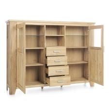 Masivní nábytek LOFT_highboard typ 38_šikmý pohled_otevřený
