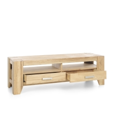 Masivní nábytek LOFT_TV lowboard typ 19_šikmý pohled_otevřený