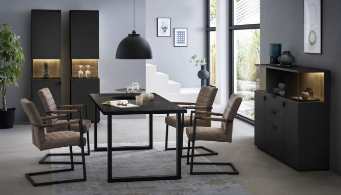 Obývací a jídelní sestavy MAURO black-gray