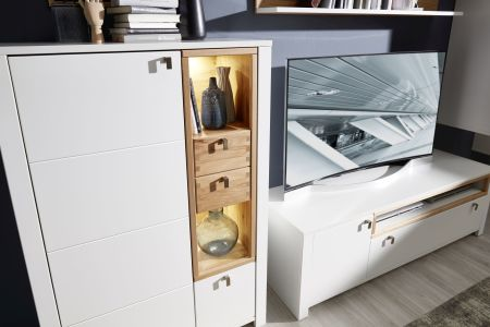 Obývací a jídelní nábytek NIZZA _detail předních ploch z dubového masivu s klínovým spojem _ obr. 14