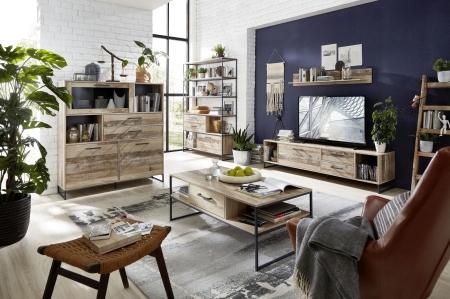 Obývací a jídelní nábytek RIVER_vitrina 04 + regál 07 + TV spodní díl 31 + závěsná police 40 + konferenční stůl 20 H2 RR 02_obr. 1