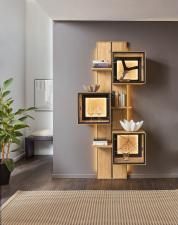 Obývací a jídelní nábytek VALERO_ panelový regál 169830 s 3 volitelnými závěsnými skříňkami_ obr. 8
