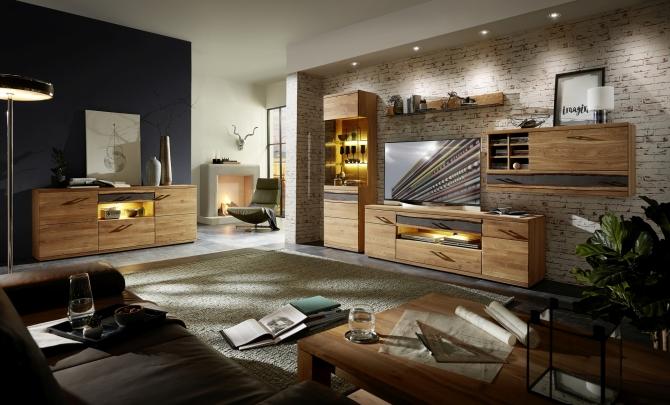 Obývací nábytek CROWN_sestava 45 18 HH 81 + sideboard typ 20_včetně volitelného LED osvětlení_obr. 1