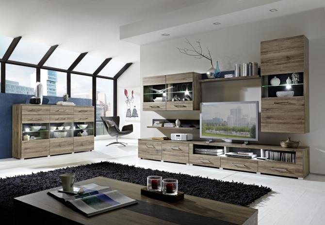 Obývací stěna DEAL 10 63 ZZ 80 + highboard 22 + konf. stůl  29 09 ZZ 02_včetně LED osvětlení_obr. 1