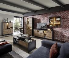 Obývací nábytek LEEDS _sestava 40 A0 GV 80 + highboard 22 + konferenční stůl CT 20 A0 GV 02_otevřený_ volitelné LED osvětlení_ obr. 5
