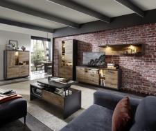 Obývací nábytek LEEDS _sestava 40 A0 GV 85 + highboard 22 + konferenční stůl CT 20 A0 GV 02_otevřený_ volitelné LED osvětlení_ obr. 8