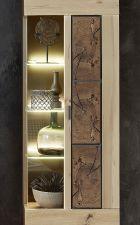 """Obývací nábytek MERCURY I._ detail vitriny s bočním prosklením a aplikací """"Hirnholz""""_ obr. 11"""