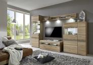 Obývací nábytek NAOMI_ sestava typů vitrína levá 09  + TV-spodní díl malý 01 + závěsná police velká 22 + komoda levá 13_ volitelné LED osvětlení_ šikmý pohled_ obr. 1