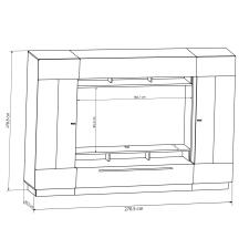 Obývací stěna DALTON_skica s rozměry niky pro TV_obr. 5