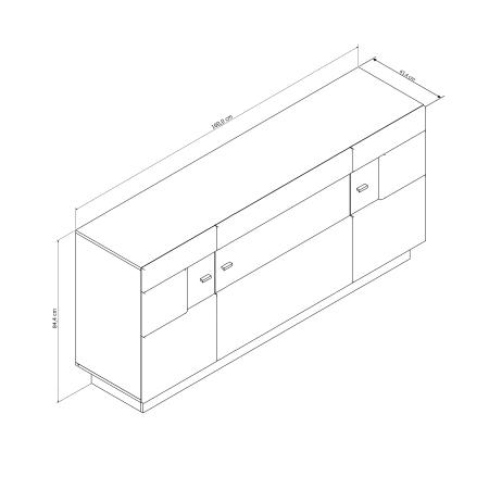 Sideboard DALTON_schematický obrázek s vnějšími rozměry_obr. 13
