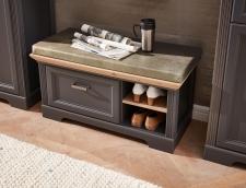 Předsíňový nábytek JASPER graphit_detail lavice s polštářem na sezení_obr. 10