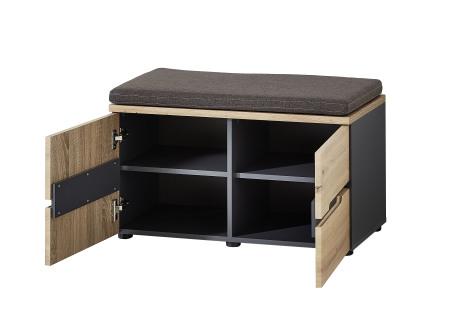 Předsíňový nábytek VANCOUVER_lavice / botník 60_šikmý pohled_otevřený_obr. 22