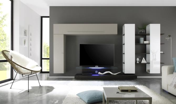 Obývací stěny  lak, vysoký lesk  solitéry  Moderní nábytek TORRIMEX -> Meuble Tv Avec Cheminee Ethanol