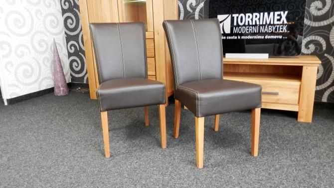 Jídelní židle, dub masiv, pravá kůže QUEEN
