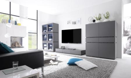 Obývací / jídelní nábytek REX_anthrazit-wenge_volná sestava elementů_obývací pokoj_obr. 2