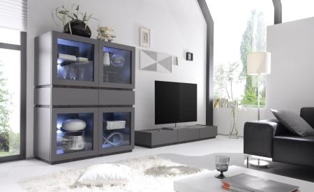 Obývací / jídelní nábytek REX_anthrazit-wenge_volná sestava elementů_obývací pokoj_obr. 6
