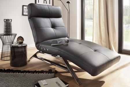 Relaxační lehátko RIMOLA s motorovým polohováním_v kůži Torero nero_obr. 1