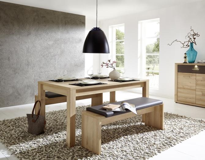 Rozkládací jídelní stůl typ 29 26 BB 01 (160 cm), buk melamin + 2x lavice 29 26 BB 03, sedací polštář v šedé imitaci kůže_obr. 1