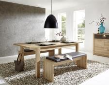 Rozkládací jídelní stůl typ 29 26 BB 01 (rozložený na 200 cm), buk melamin + 2x lavice 29 26 BB 03, sedací polštář v šedé imitaci kůže_obr. 2