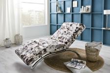 Relaxační pohovka SPACE_dekorační látka FlowerPower_grey_obr. 2