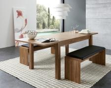 Rozkládací jídelní stůl typ 29 26 CC 01 (rozložený na 240 cm), akácie melamin + 2x lavice 29 26 CC 03, sedací polštář v černé imitaci kůže_obr. 3
