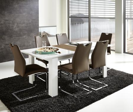 Rozkládací jídelní stůl typ 29 11 WR 01 (rozložený na 200 cm), bílý melamin v kombinaci s balkánským dubem MDF_obr. 1