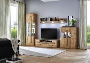 Obývací nábytek TIZIANO_vitrina 09 + TV spodní díl 01 + závěsná police 23 + highboard 13_možnost volitelného LED osvětlení
